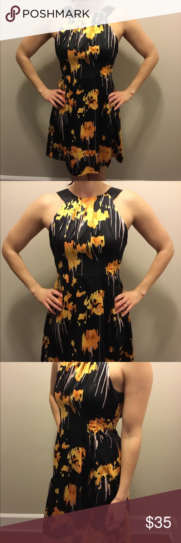 Final Sale Black Dress With Yellow Flowers Clothes Design The Limited Dresses Fashion [ 1740 x 580 Pixel ]