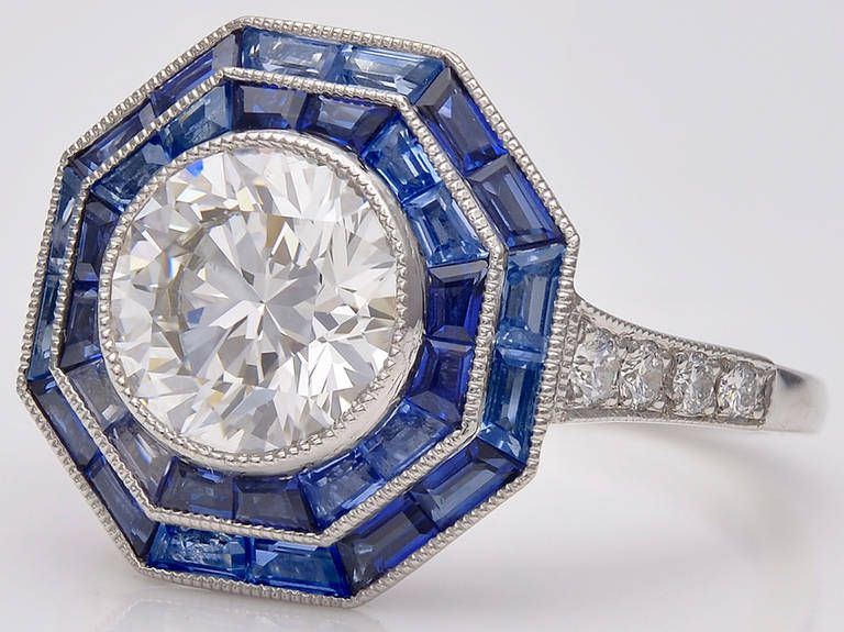 cfd586e87 Tiffany & Co. Sapphire Diamond Platinum Octagonal Ring   From a unique  collection of