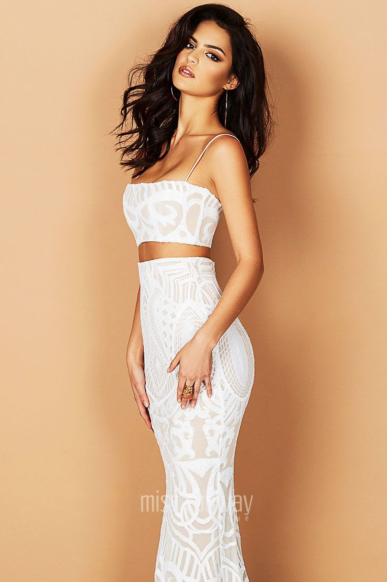 Mon Cherie Two Piece Gown in White by Nookie nookie