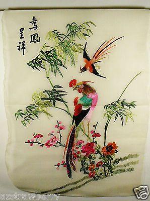 VTG-1950s-Japan-Silk-Embroidery-Needlework-Paradise-Bird-Bamboo-Garden-Silk