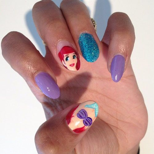 Superb Disney Nail Designs | Cute Disney Nail Art: Little Mermaid Disney Nail Art  Design U2013