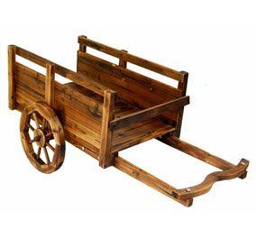Wooden Cart with Wheels | Decorative Garden Cart / Wheel ...