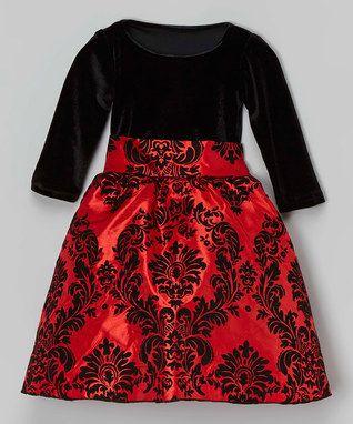 Vestidos negro con rojo para ninas