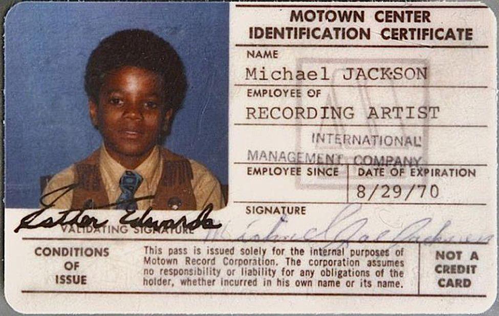 Michael Jacksons 196970 Motown Id Card Soul Baby