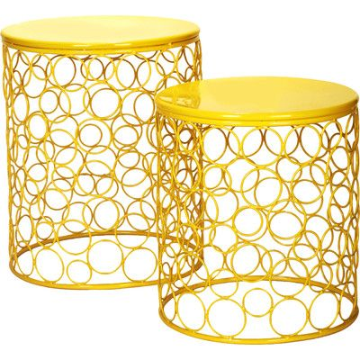 Adecotrading 2 pieces home garden accent wire round stool finish adecotrading 2 pieces home garden accent wire round stool finish yellow greentooth Gallery