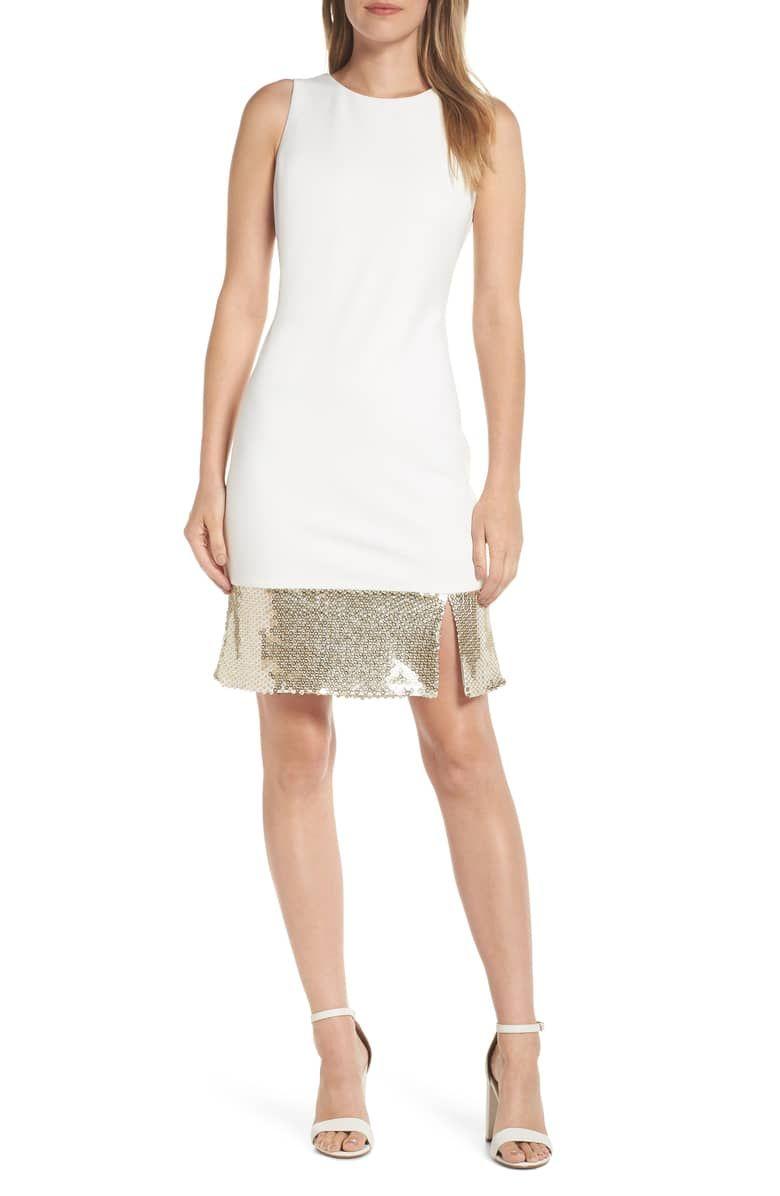Embellished Sheath Dress Main Color Ivory Trendy Cocktail Dresses Sheath Dress Dresses