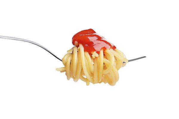 Fork with spaghetty and ketchup isolated on white background Vadim Goodwill Print featuring the photograph Let's Have A Pasta With Ketchup by Vadim Goodwill  d