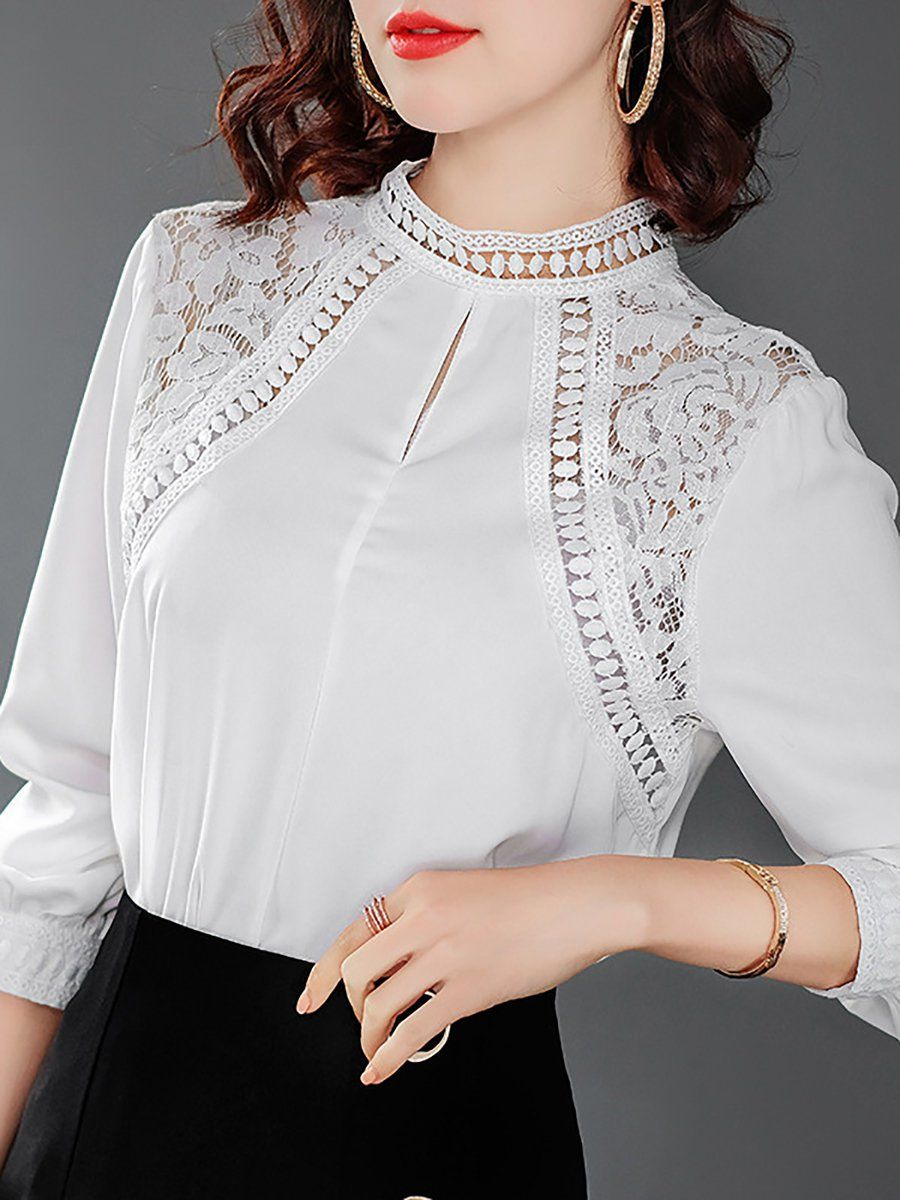 5ae95af7642440 Stylewe Long Sleeve Black Red White Women Blouses For Work Cotton Stand  Collar Daily Guipure Lace