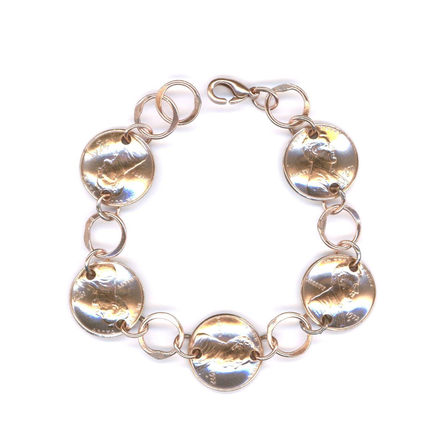 1972 penny bracelet jewelry 45th birthday gift for women