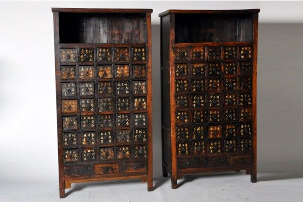 Pair Of Chinese Medicine Chests Medicine Chest Spice Organization Chinese Medicine