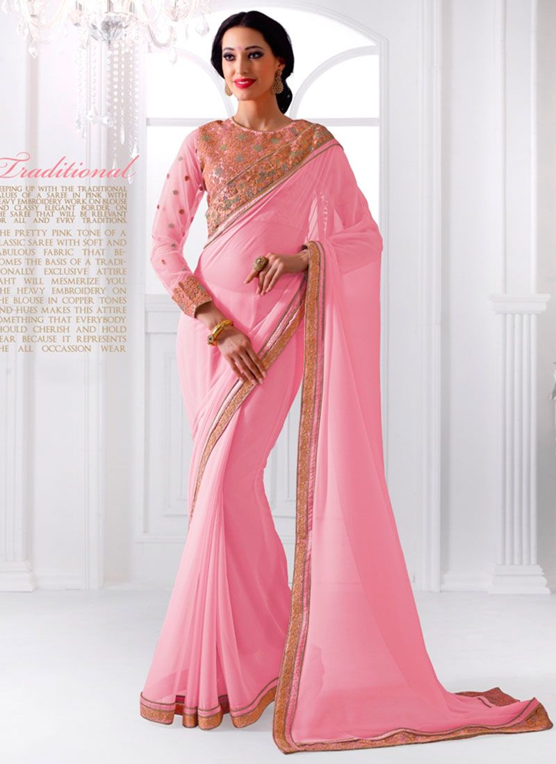 630e5360e190fd Featuring superb light pink georgette saree elegantly crafted with floral  embroidery and patchwork in copper tones is a perfect attire for festivals  and ...
