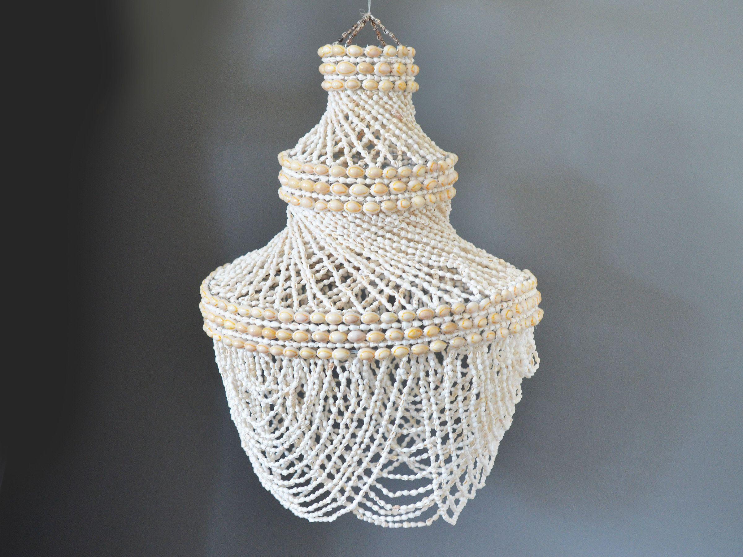 Vintage Shell Chandelier 25 Tall Puka Or Cowrie Shells Boho Home Decor Beach House Decor Boho Hangi Shell Chandelier Chandelier Glass Pedestal Cake Stand