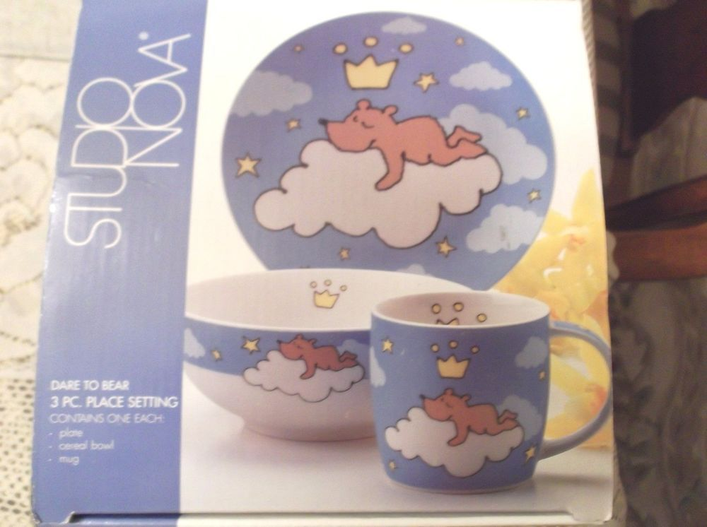 Studio Nova Porcelain Dare To Bear Plate Bowl Mug Set Tpc54 Studionova Childrens Mugs Vintage China Mugs Set