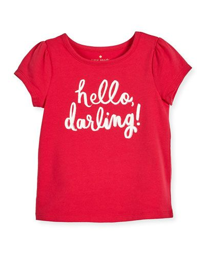 -73MY kate spade new york  hello darling stretch jersey tee, pink, size 2-6 hello darling stretch jersey tee, pink, size 7-14