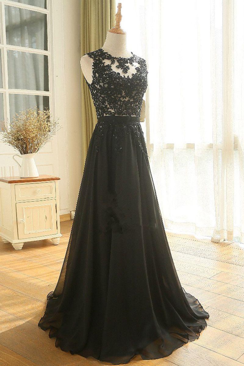 Floor Length A Line Beading Appliques Sashes Black Sleeveless Chiffon Long Prom Dress Prom Dresses Long Lace Prom Dresses Lace Cheap Evening Dresses [ 1200 x 800 Pixel ]