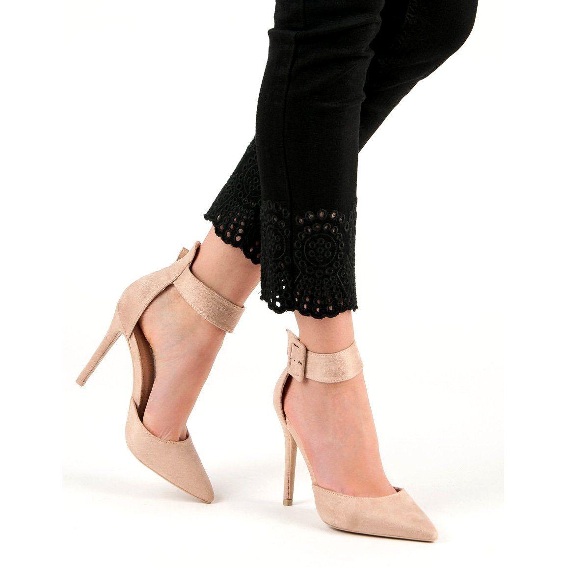 Bezowe Zamszowe Szpilki Bezowy Stiletto Heels Heels Stiletto