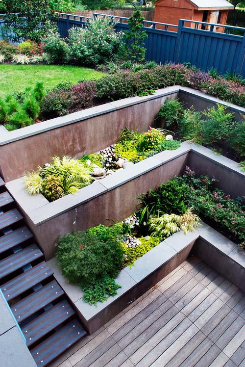 terraced patio area is part of Sloped garden -