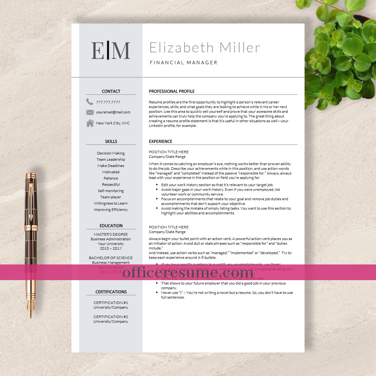 Resume Template Simple Resume Template Instant Download