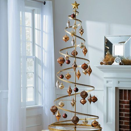 Metal Christmas Tree.Metal Spiral Ornament Trees A Good Way To Display A