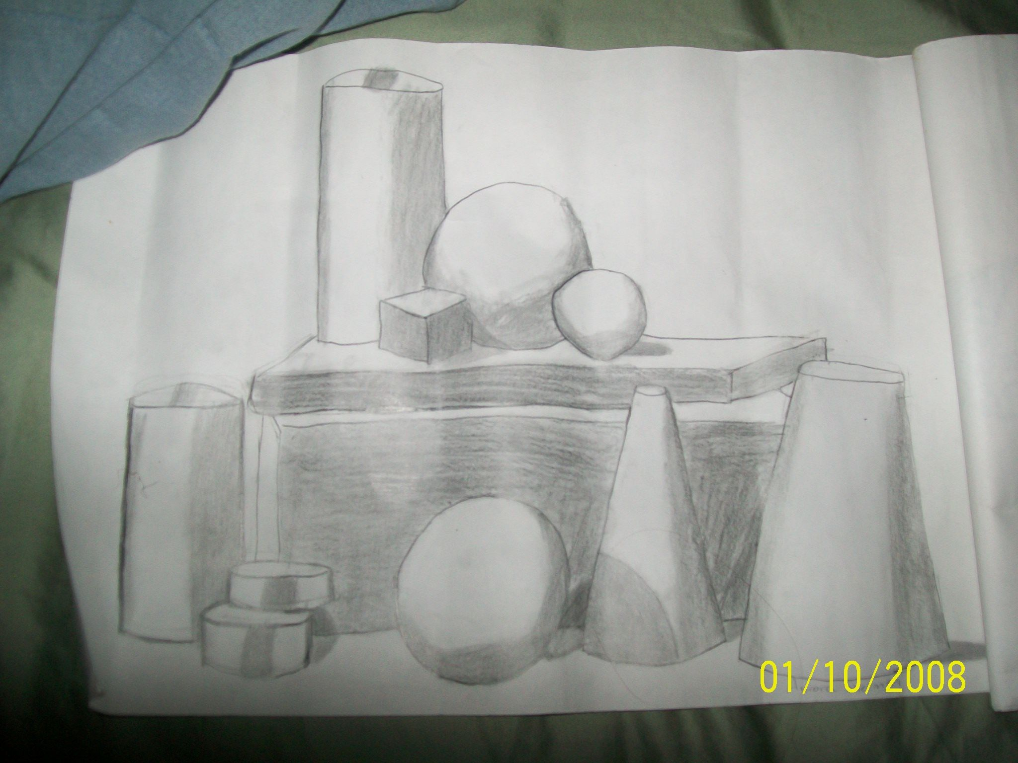 7th grade art (step up from drawing 3 shapes, you have a whole stack