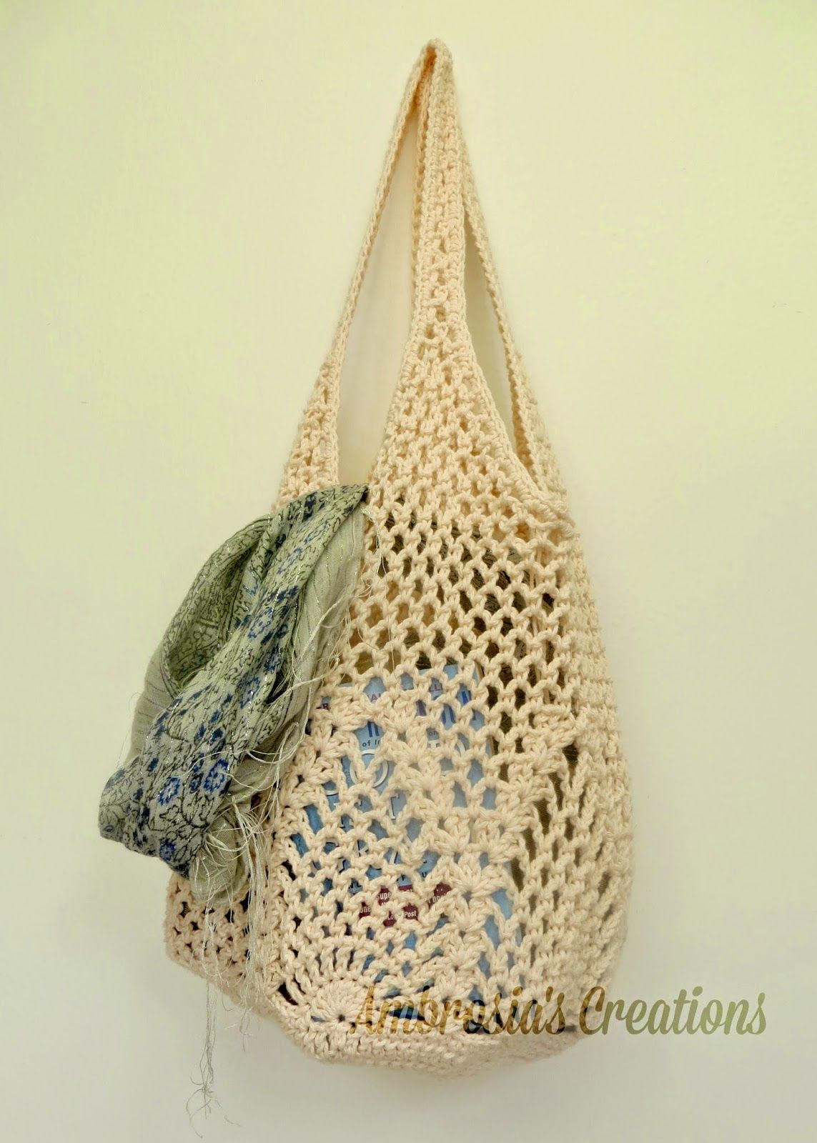 Ambrosias Creations Pattern Pineapple Crochet Market Bag Chart