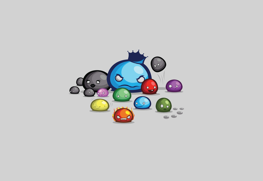 Terrarian slimes. Not a complete collection due to the past few updates, but still some of them. I like the Lava Slime's rage face.