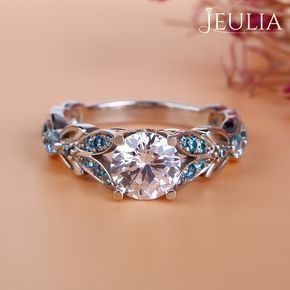 Breathtaking Princess Cut Engagement Rings ❤ Find Your Unique Designer Rings. Be Different. Be Unique. Gorgeous inlay engagement rings, handmade in the US, made just for you. Choose your inlay stone, metal and diamond for a truly unique look. Jeulia Butterfly Round Cut Created White Sapphire with Aquamarine Sidestone Engagement Ring | The Jeulia Jewelry #JeuliaJewelry #princesscutring #princessengagementring