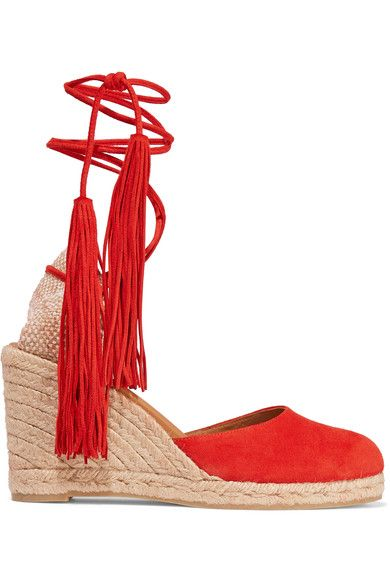 6162f25818b0 Wedge heel measures approximately 80mm  3 inches Red suede Ties at ankleAs  seen in The EDIT magazine