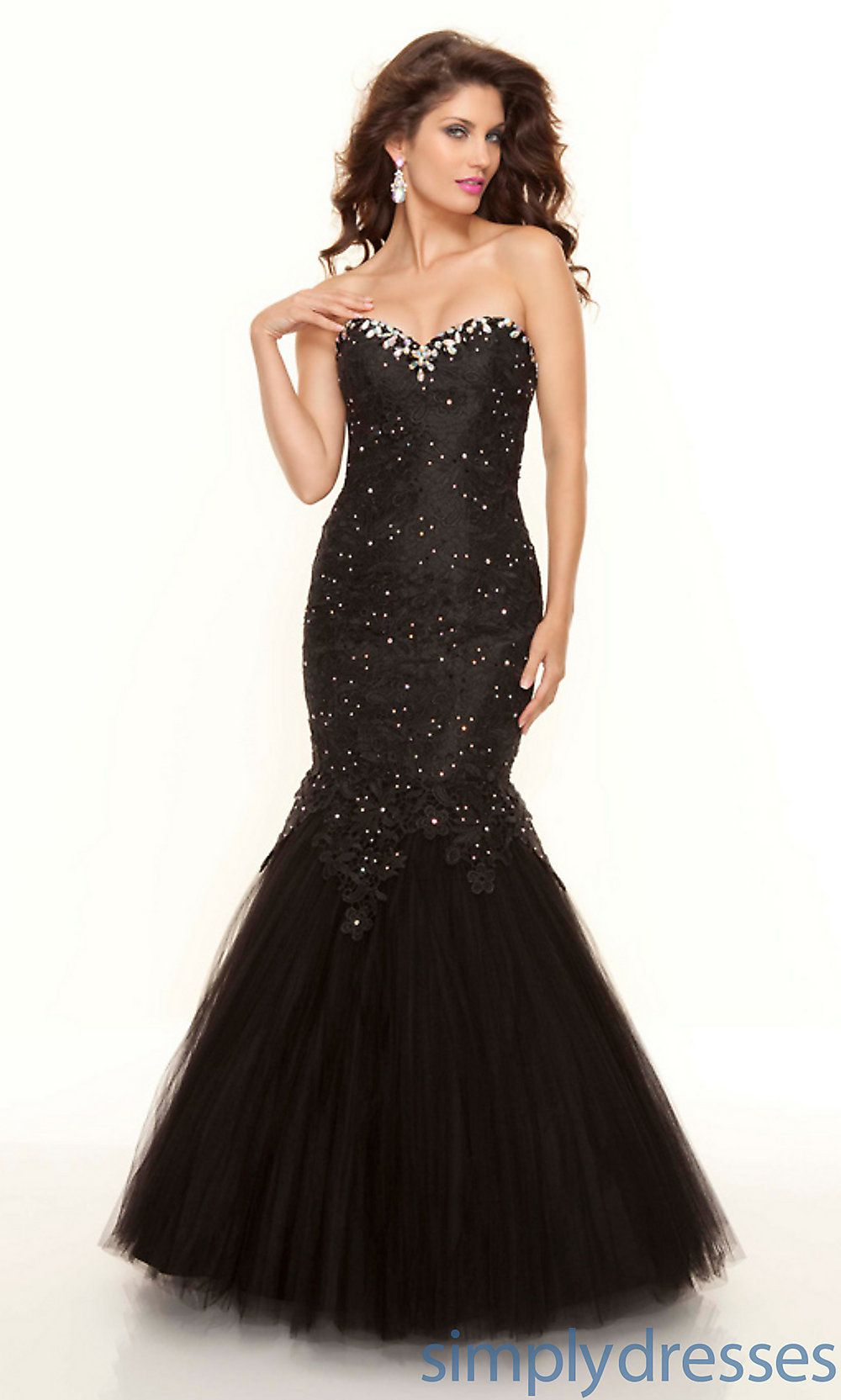 Strapless Black Lace Mermaid Dress ML-93065 | Red Carpet Ready ...