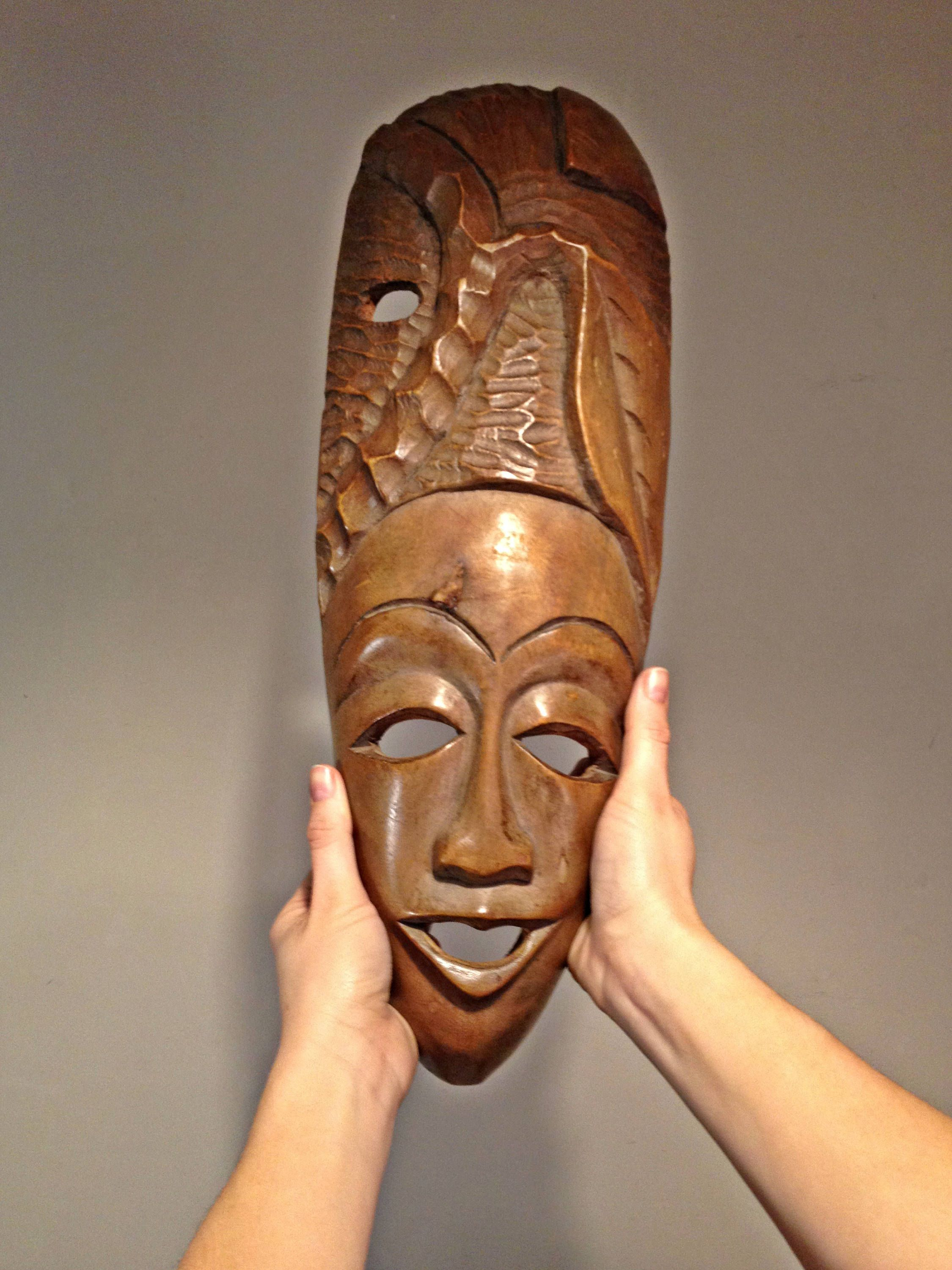 Large Wooden Mask Tribal Wall Decor African