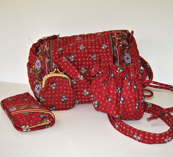 0d12a781c7 Lot of 4 Vera Bradley Red quilted fabric purse and accessories eyeglass case  coin purse jewelry bag Red French Country floral tote gift idea