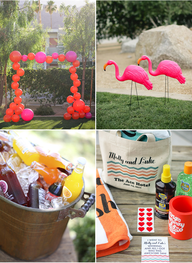 Pool Party Bridal Shower Beach Ball Archway Flamingos Gift Bags