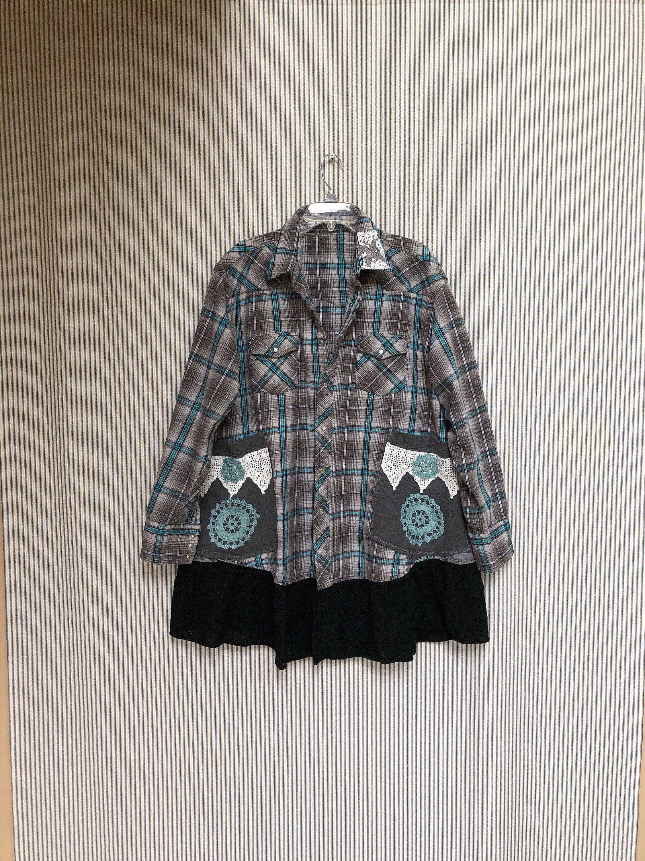 Flannel shirt black and grey  Upcycled Gray Plaid Flannel Shirt Jacket  Shabby Boho Prairie Chic