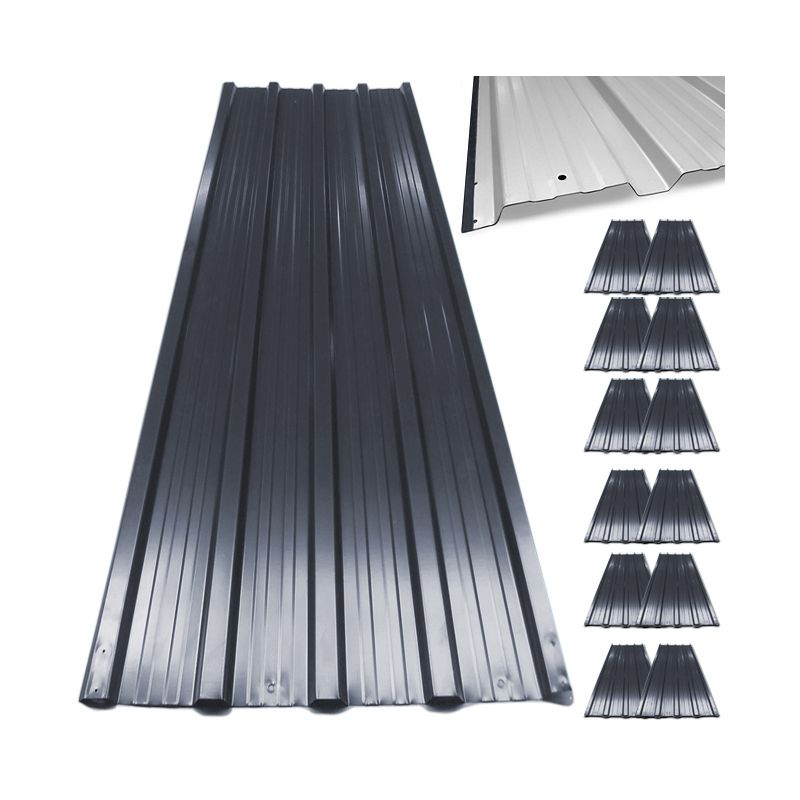 12x Deuba Corrugated Roof Sheets 1290 X 450 Mm 7 M Roofing Wall Cladding Metal Grey Anthracite 104252 Roof Cladding Cladding Panels Corrugated Roofing