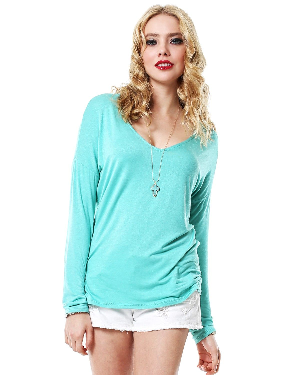 Basic Loose Fit Long Sleeve Blouse Top .  http://www.11foxy.com/tops.html #womentops #womentop #top #shopping #clothes #california #11foxy
