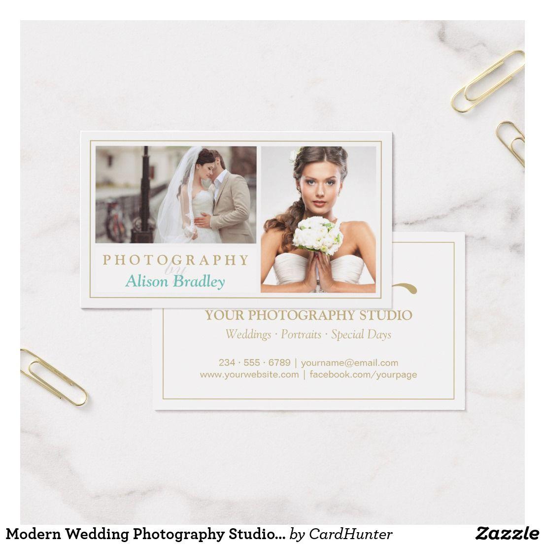 Modern Wedding Photography Studio Elegant Stylish Business Card ...