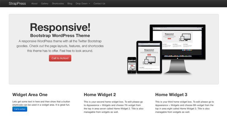 StrapPress is a premium WordPress theme made with the Twitter ...