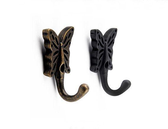 Erfly Wall Hooks Metal Antique Bronze Black Coat Hangers Towel Hanger Hook