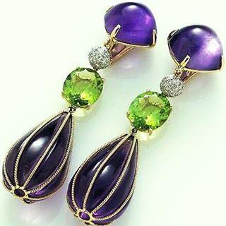 Amethyst peridot and diamond chandelier earrings in 18kt gold amethyst peridot and diamond chandelier earrings in 18kt gold mozeypictures Choice Image
