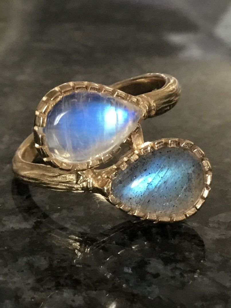 Dreamlike Labradorite stud earrings with gilded sterling silver Rainbow Moon Stone