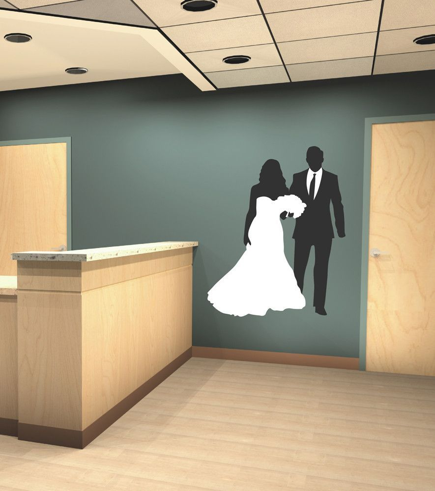 Cik full color wall decal bride groom wedding dress bridal shop