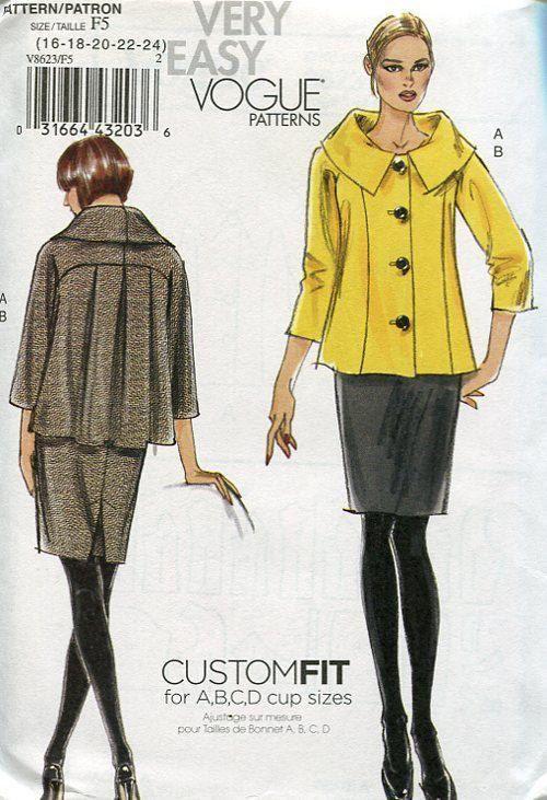 Vogue 8263 Big Collar Flared Suit Jacket Skirt 2009 Sewing Pattern ...