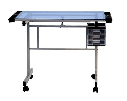 Offex Home Office Vision Craft Station Silver / Blue Glass