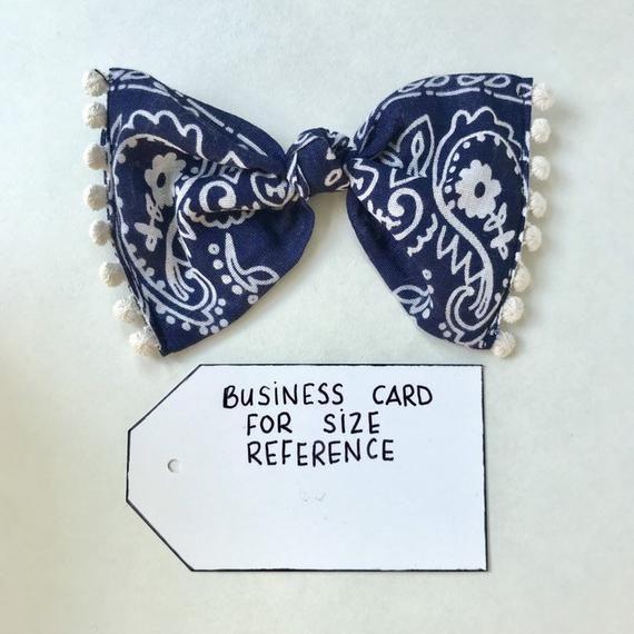 Bow Clip // Navy Bandana (with dingle berries)