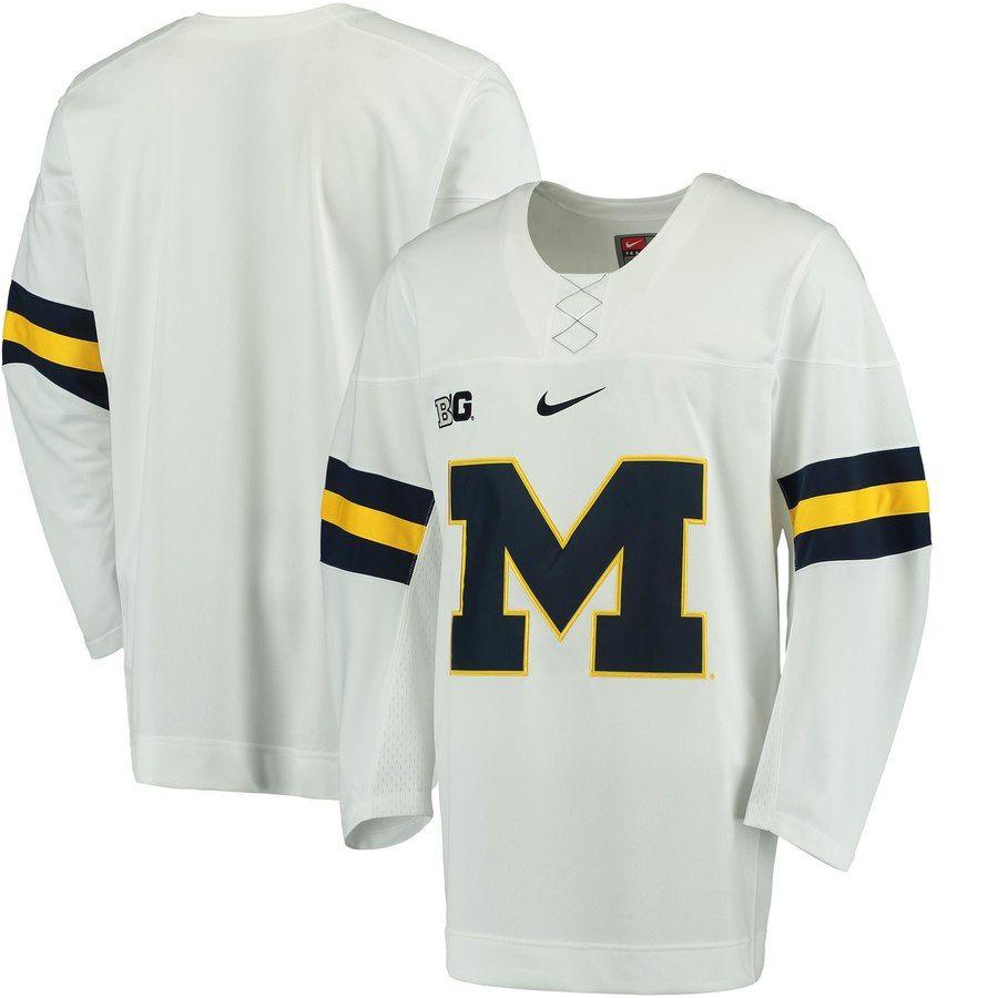 Nike Michigan Wolverines White Replica Hockey Jersey Hockey Jersey Michigan Wolverines Jersey