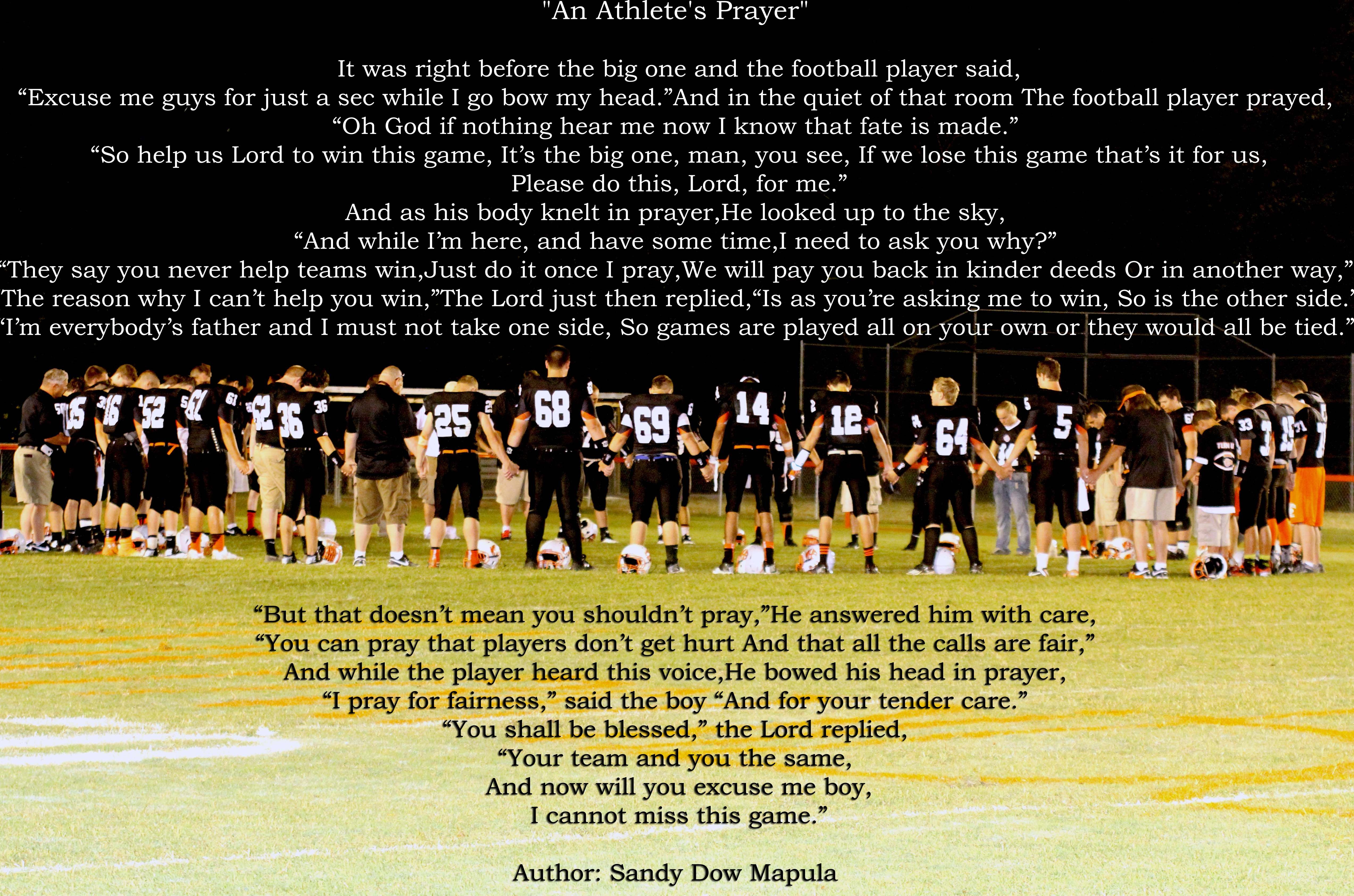 The football Prayer before the Big Game . You Got this