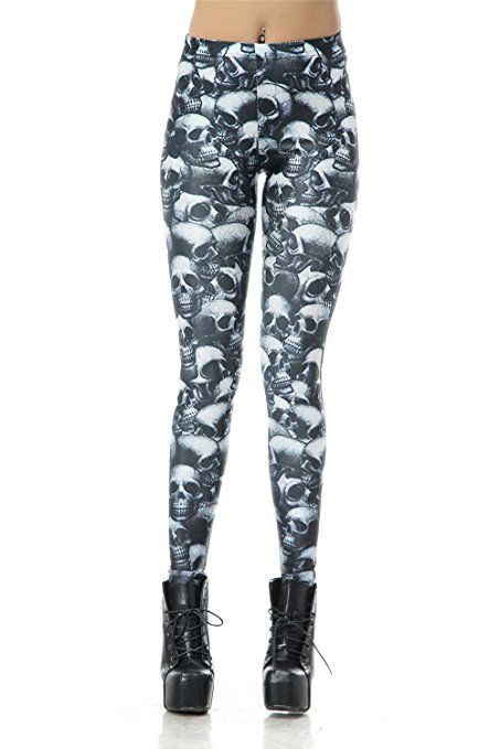20ba2a305eff0 DawnRaid Womens Graphic Printed Leggings Stretch Funky Tights Ankle Length  at Amazon Women's Clothing store: