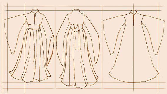 15th Century Women's Houpplelande-  É possível observar a forma simples deste vestido, as mangas compridas e o seu comprimento.