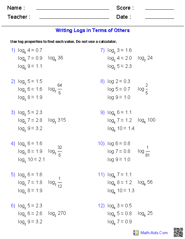 Writing Logs In Terms Of Others Worksheets Math Aids Com