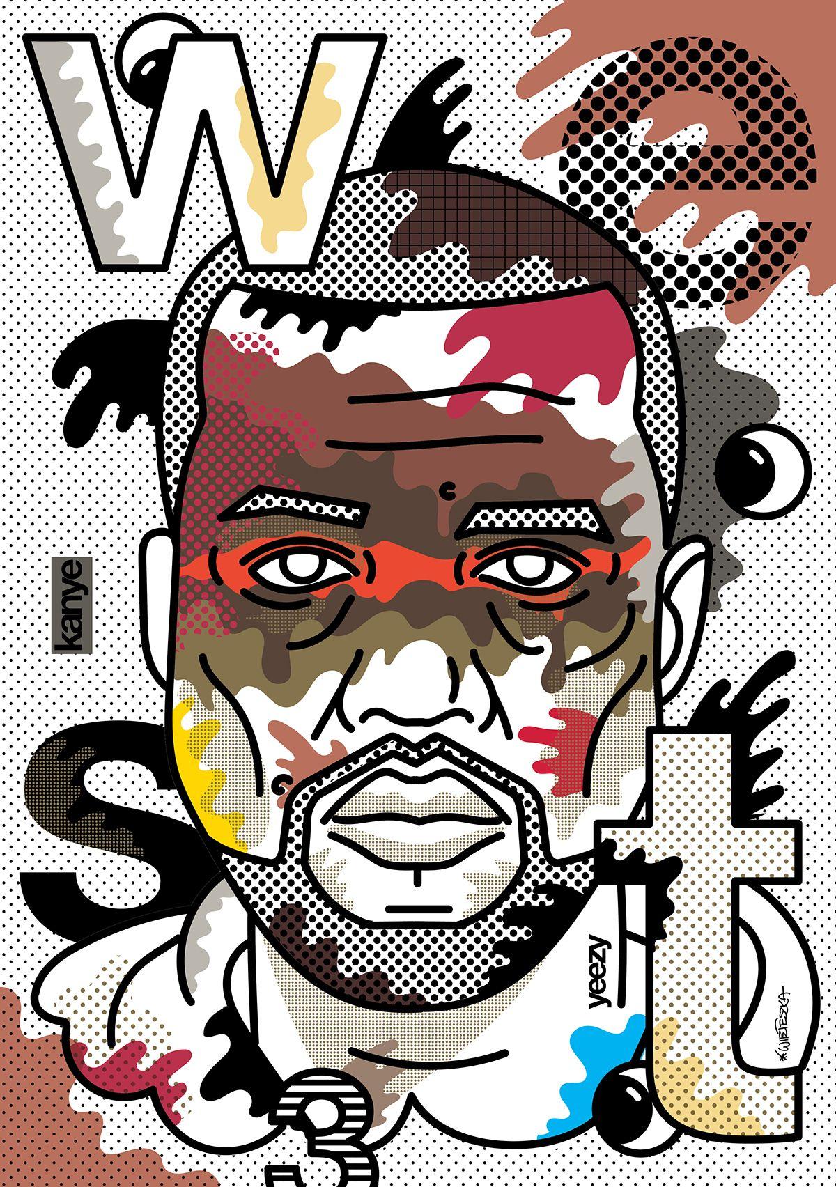 poster portrait kanye west on behance my aesthetics pinterest